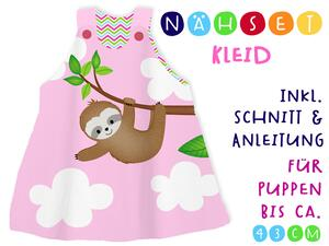 .Nähset Puppen-Kleid, Chilly das Faultier, inkl....