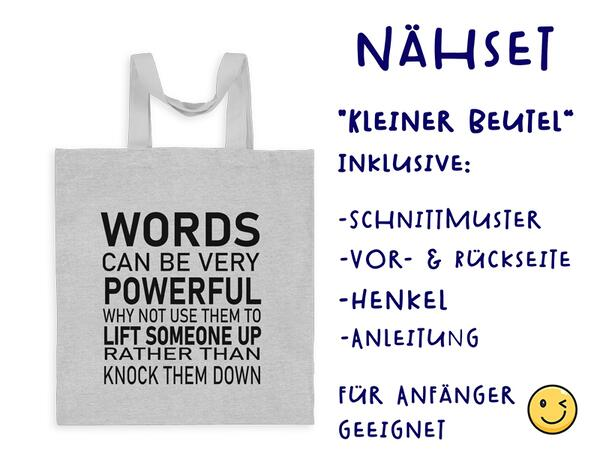 Nähset Tasche Words, Anti Mobbing, Canvas Biobox