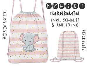 Nähset Turnbeutel, Elefant, Canvas Biobox