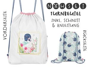 Nähset Turnbeutel, flower girl, Canvas Biobox