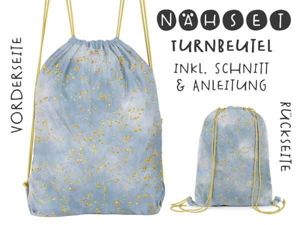 Nähset Turnbeutel, Golden Glitter, Canvas Biobox