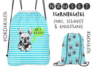 Nähset Turnbeutel, Frenchie Bulldog, Canvas Biobox