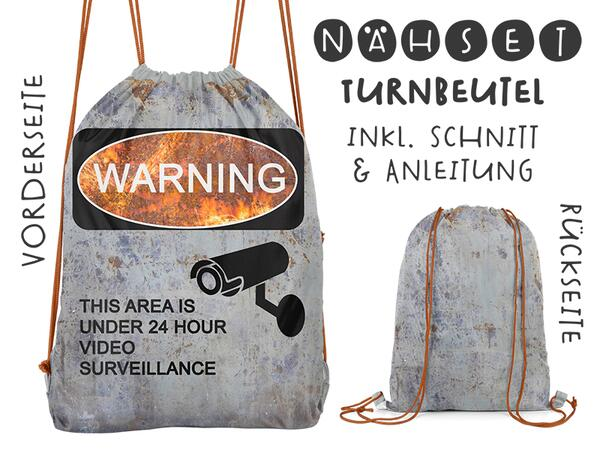 Nähset Turnbeutel, Warning, Canvas Biobox