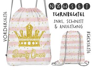 Nähset Turnbeutel, Beauty Queen fake-Glitzer, Canvas Biobox