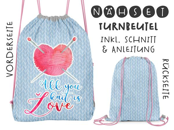 Nähset Turnbeutel, all you knit is love, Canvas Biobox
