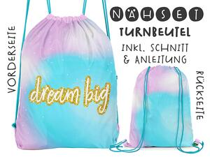 Nähset Turnbeutel, dream big fake-Glitzer, Canvas Biobox
