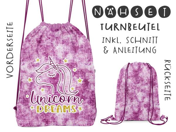 Nähset Turnbeutel, Unicorn Dreams, Canvas Biobox