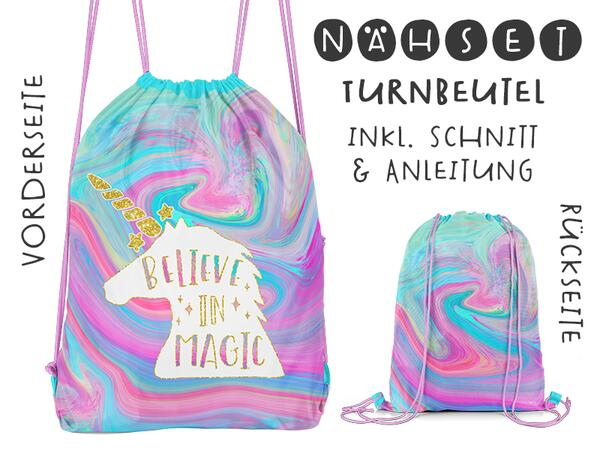 Nähset Turnbeutel, Believe in magic, Canvas Biobox
