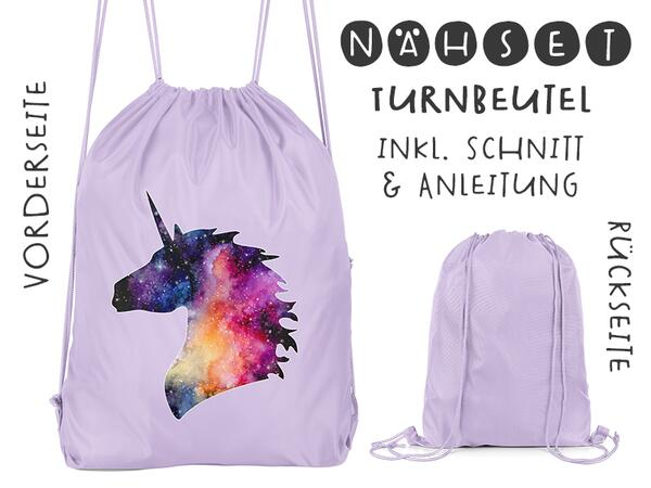 Nähset Turnbeutel, Einhorn, Canvas Biobox