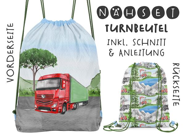 Nähset Turnbeutel, Trucks, Canvas Biobox