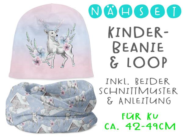 Nähset 2tlg. SET Beanie & Loop, KU 42-49cm, Lovely deer,...