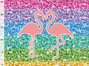 .Bio-Sommersweat Flamingo Panel, Blockstreifen Rainbow...