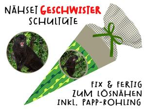 Nähset Geschwister-Schultüte Panther, mit Rohling, ohne...