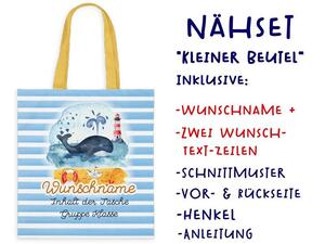 Nähset Tasche mit WUNSCHNAME, Wal, Nordsee, Ostsee,...