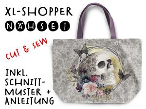 Nähset XL Shopper-Bag Tasche, skulls & shadows, inkl....