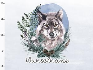 Bio-Sommersweat WUNSCHNAME Panel Wolf, rainbow animals,...