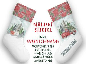 Nähset XL WUNSCHNAME Stiefel, christmas tree, Advent /...