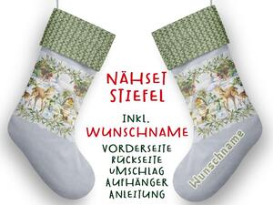 Nähset XL WUNSCHNAME Stiefel, winter romance, Advent /...