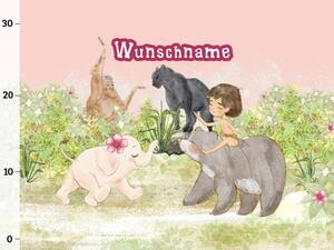 Bio-Jersey WUNSCHNAME Panel, Dschungelfreunde, Rosa by...